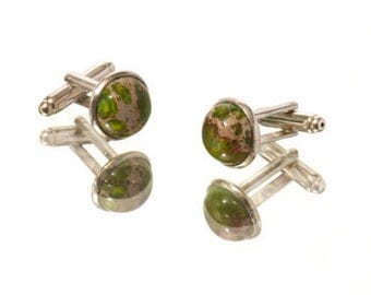 Cuff Link Set:  Imperial Jasper Domed Cabachons & Silver