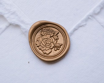 Camellia wax seal for flower weddings, flower wax seal