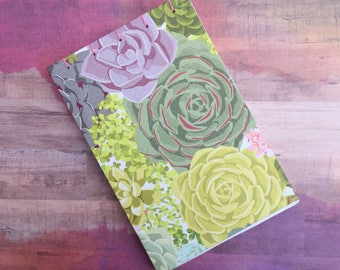 Succulents Sketchbook/Journal, Open Spine/Exposed Spine, Blank Pages, No Lines, 4 x 6 inches, 50 Pages