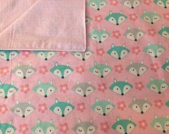 Large Baby Blanket, Swaddle, Reversible, Foxes, Pink, Grey, Aqua, Flowers, Stripes, Receiving Blanket, OOAK, Quinnsbin, Baby Shower Gift