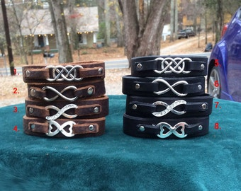 Brown or Black Leather Infinity Bracelets