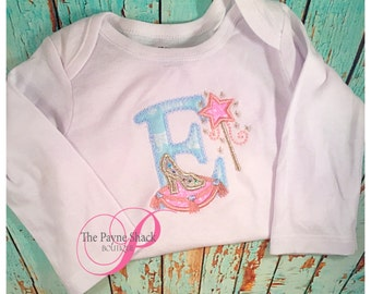 Take Home Outfit, Baby Girl Onesie, Baby Girl Newborn Onesie, Embroidered Cinderella Letter Bodysuit Set