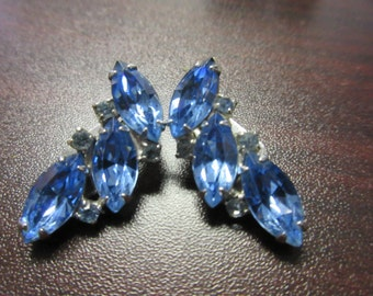 Blue Rhinestone Clip On Earrings