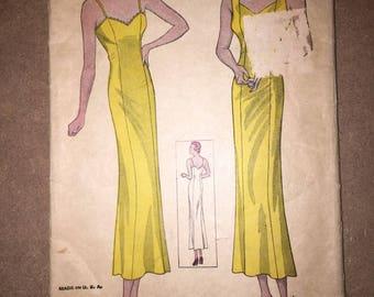 1930s Vintage Simplicity 1336 Dress and slip Pattern, Bust 34, Hip 37
