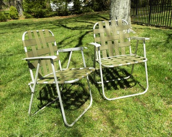 Vintage Mid Century Aluminum Folding Garden Chairs -- Price is for the Pair.