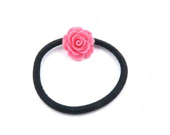 Rose pink flower hair tie