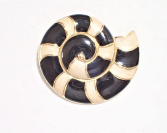 Trifari Cream And Black Enamel Nautilus Sea Shell Figural Brooch
