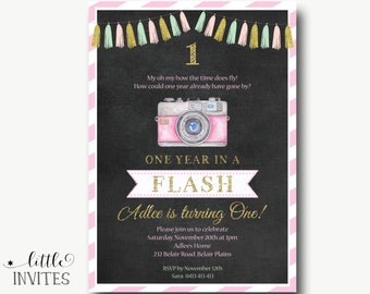 First Birthday Invitation/camera/Girls birthday invitation/chalkboard/pink mint gold/any age birthday/One year in a flash invitation-Adlee
