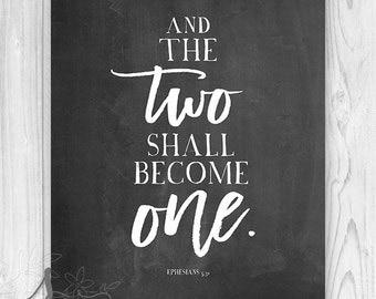 Ephesians 5:31 Two Shall Become One Art Print, Bible Verse Print, Scripture Art Print, Christian Wedding Decor, Wedding Reception Decor