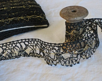 Black and gold spider web lace trim - vintage French lace trim