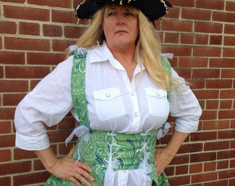 Pirate Renaissance Long Vest/Bodice Adult and Pirate Hat Size 6 to 20.CUSTOM to fit