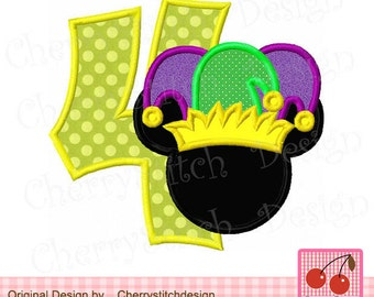 """Mardi Gras Number 4 Mouse head  Machine Embroidery Applique Design - approximate 4x4 5x5 6x6"""""""