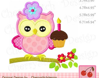 Owl with cupacke Birthday Machine Embroidery Applique BIR120