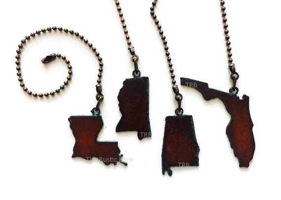 CEILING FAN PULL State Louisiana Mississippi Alabama or Florida charm size made of Rusty Rustic Recycled Metal