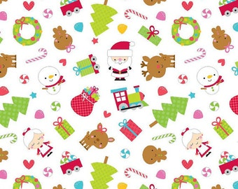 Santa Express Main White Doodlebug Designs for Riley Blake Designs