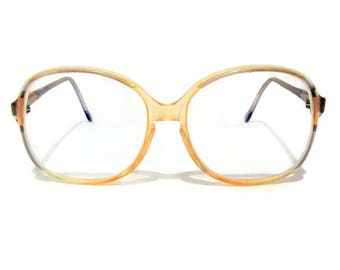 Vintage Titmus Large Round Frame Eyeglasses/ Pink Blue Accents/ Clear Peach Yellow Plastic Frames/ Retro 1980's Eyeglasses/ Made in USA