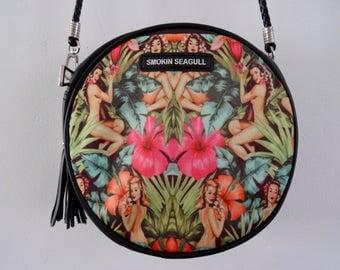 Tropical Pin Up Girl Round Handbag - Hibiscus 1950s Rockabilly Flower Summer Jungle Holiday Bag Clutch