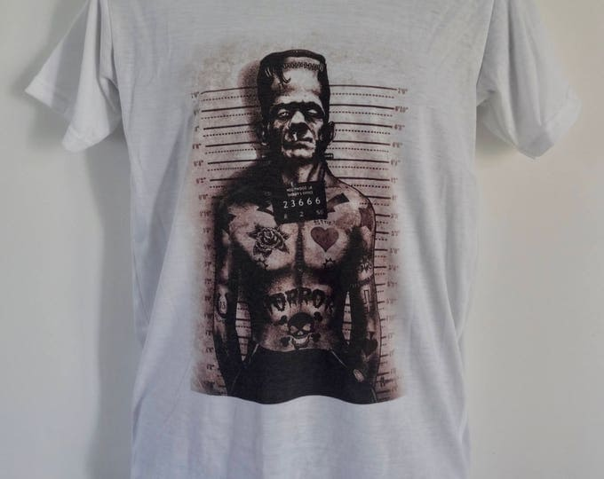 Men's Frankenstein Police Mug Shot T-Shirt - Tattoo Comic Book Alternative Horror  - UK S M L