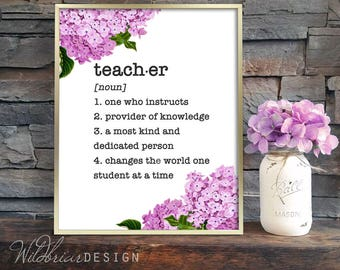 Printable Wall Art, Teacher dictionary definition, thank you appreciation gift, pink floral 8x10; INSTANT DOWNLOAD