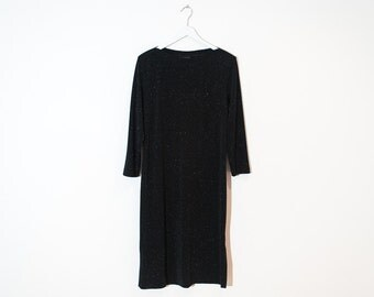 on sale - black sparkly midi dress / 3/4 sleeve boat neck dress / size L