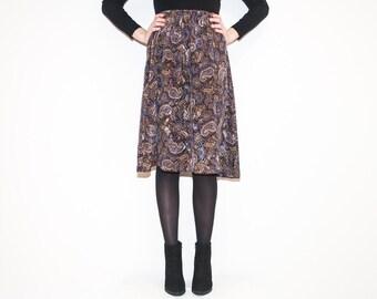 on sale - 80s brown & blue paisley skirt / high waist knee-length midi skirt / size S