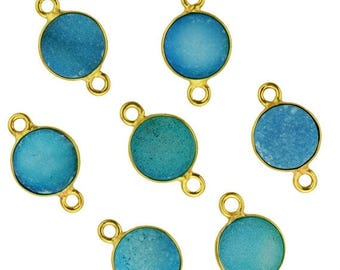 4th July30% OFF Light Blue Color Druzy, Bezel Round Shape Connector, 8mm Round 24K Gold Plated, Double Bail 1pc. (LCZ-11198)