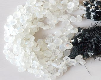 """25% OFF Single Strand Rainbow Moonstone Briolette Beads, 15x9mm Faceted Gemstone Teardrop Beads 8"""" Inch Long (DRRM-70004)"""