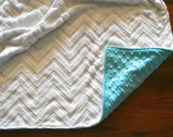 Aruba Blue and White Chevron Blanket - Ultra Soft Minky Blanket - Personalized Blue and White Baby Blanket
