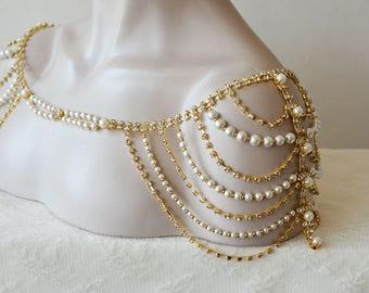 Wedding Dress Gold Shoulder, Wedding Shoulder Jewelry, Gold Shoulder Necklace, Wedding Dress Accessory
