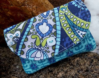 Turquoise Quilted Business Card Holder, Small Fabric Wallet, Paisley Wallet