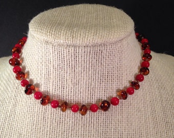 Dark Cognac Baltic Amber and Red Coral Teething Necklace 12 inches