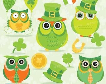 80% OFF SALE St-patrick's owls clipart commercial use, valentine vector graphics, digital clip art, digital images - CL638