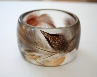 Large feather bangle, feather bangle, resin and feather bracelet, feather bracelet, made in Canada