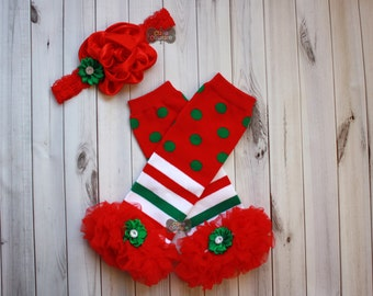 CHRISTMAS LEG WARMERS set-Ruffled Leg Warmers,Red and White Stripe-Leg Warmers-Shabby Chic-Baby Leg Warmers-Girls Leg Warmers-Set-xmas-red