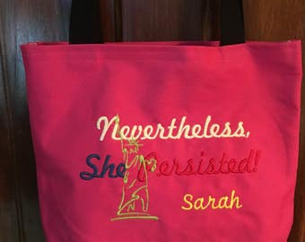 Free Personalizing Machine embroidery She Persisted tote
