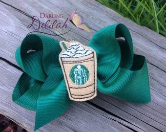 Starbucks Coffee Hair Bow, Latte Bow