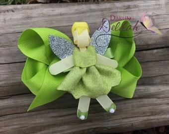 Tinker Bell Ribbon Hair Clip, Princess Hair Clip, 2 in 1 bows