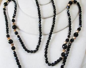 Vintage Black Jet Rope Necklace - 48 inch in length - Estate find!