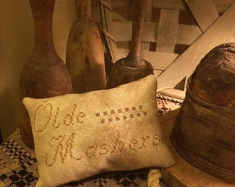 Farmhouse Primitive Pillow Tuck | Primitive Pillow  | Prim Pin Keep | Cupboard Pantry | Prim Kitchen Decor | Antique Masher | Cross Stitched