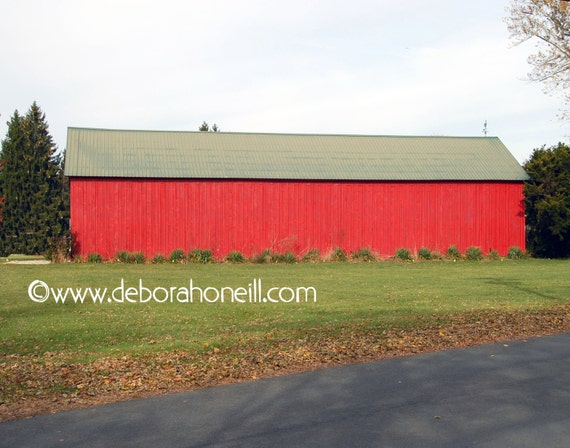"Barn Photography - red farm barn vintage old historic Christmas colorful 8x10 prints New England ""Red Red Barn"""