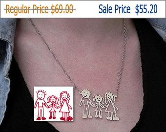 20% OFF - Kids drawing necklace with 3 or more figures, actual children drawing necklace, kids art necklace, mother's gift, family necklace