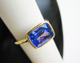 Tanzanite Stacking Ring, Cushion Cut Tanzanite, 18K Solitaire Ring, 2.3ct. Tanzanite Ring, Deep Purple Tanzanite, Air Mount© Tampico Design.