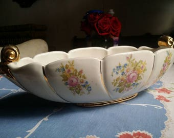 Vintage 40's Abingdon China Shabby Chic Style Floral Gravy Boat Serving Dish