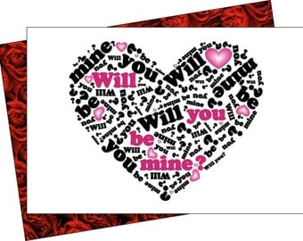 Be Mine, engagement, love card instant download