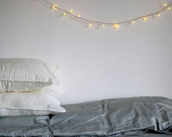 WHITE LINEN PILLOWCASES. Set of 2. From 100% washed white linen. Soft and natural linens for your bedding.
