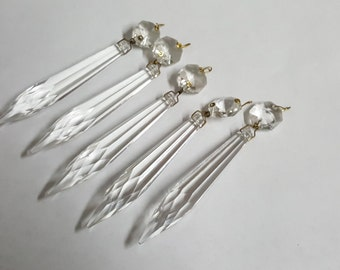 Set of 5 Vintage Chandelier Crystals Clear Icicle