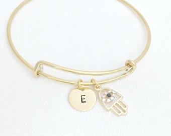 Gold Bangle, Hamsa Hand Bangle, Hamsa Hand Bracelet, Initial Bangle, Initial Bracelet, Letter Jewelry, Personalized Jewelry,Bridesmaid Gifts