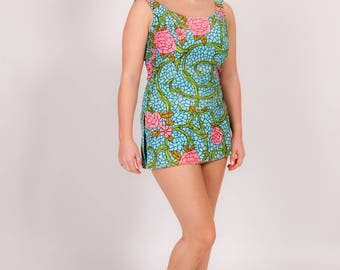 Rare blue & pink  vintage Rose Marie Reid swimsuit bathing suit