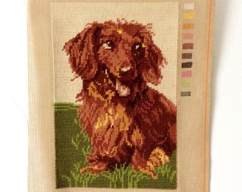 Long Haired Dachshund Needlepoint Pillow Cover Completed
