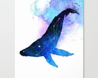 Whale Canvas   Whale Painting   Space Whale   Whale Galaxy   Whale Decor   Space Painting   Galaxy Canvas Painting   Constellation Art